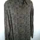 Clairborne Southwestern Men's Shirt Brown XXL 2XL 2X XX Cupro 49% Rayon Button