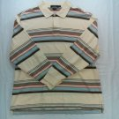 Daniel Cremieux XL Collection Cream White Stripe Men Long Sleeve Golf Polo Shirt