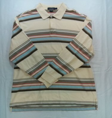 Daniel Cremieux XL Collection Cream White Stripe Men Long Sleeve Golf Polo Shirt