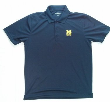 University Of Michigan M Blue Maize Ground Crew Mens Golf Polo Shirt Small S 83