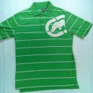 Ecko Unltd Medium M Green Golf Polo Shirt Stripe Logo Mens Short Sleeve Button