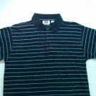 Mile 4 Stripe Medium M Men Polo Golf Shirt Blue White Short Sleeve Collar Button
