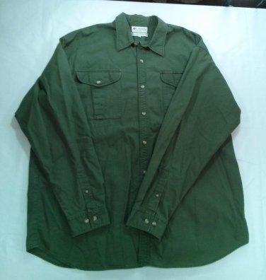 Columbia Sportswear Green Shirt Men 2XL 2X XX Big Button Front Up Hunting 2 X L
