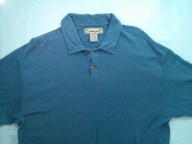 Jamaica Jaxx Blue Ribbed Golf Silk Polo Mens Shirt XL X Large Short Sleeve Camp