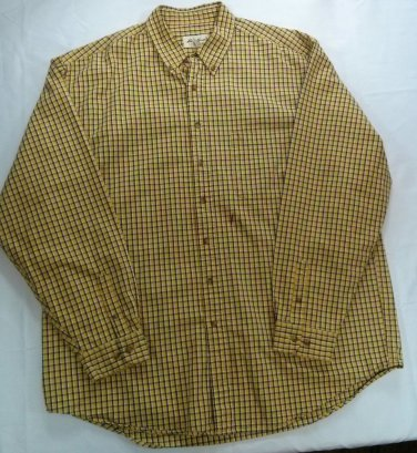 Eddie Bauer Yellow Long Sleeve Camping Men XXL Plaid Lumber Jack 2XL 2X XX Shirt