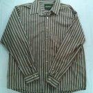 Eddie Bauer Brown Long Sleeve Camping Men Large L Stripe Blue White Button Shirt