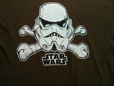 Brown Large 42/44 Star Wars Stormtrooper Skull Crossbones T Shirt Jolly Roger L
