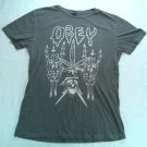 Obey Skeleton And Cross T Shirt Black Gray Leaf Skull Lightning Medium M Fairey