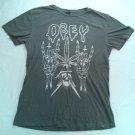 Obey Skeleton And Cross T Shirt Black Gray Leaf Skull Lightning Medium M Fairey