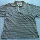 Cutter And Buck Striped Beige Tan Medium M Mens Shirt 100% Cotton Short Sleeve
