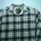 Eddie Bauer Mens Flannel Shirt XL X Large White Black Relaxed Fit Plaid Check