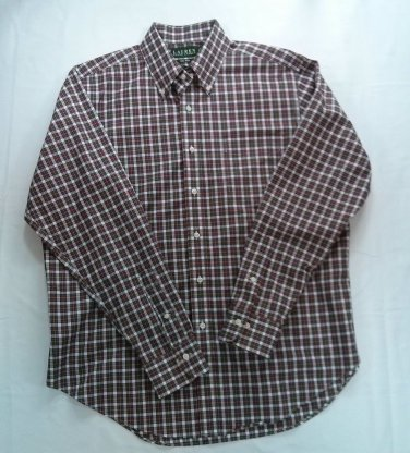 Lauren By Ralph Lauren Check Plaid Mens Shirt 16 1/2 34/35 Red White Blue XL X L