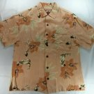 Caribbean Joe Peach Hawaiian Tropical Surf Short Sleeve Mens Shirt Small S Rayon