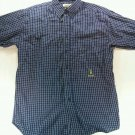 Wrangler Riata Medium M Blue Plaid Check 15 1/2 33/34 Logo Long Sleeve