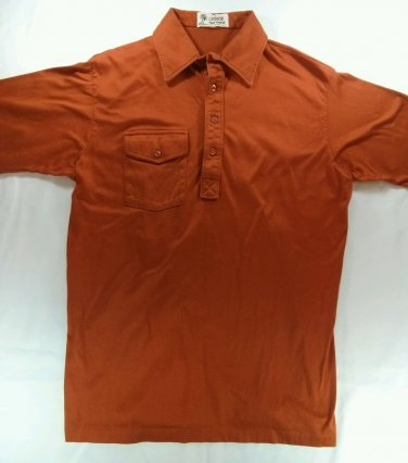 Caribbean Sportswear Orange Red Polo Button Short Sleeve St Thomas US VL Medium