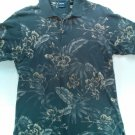 "Izod ""Silk Wash"" Blue Flower Hawaiian Medium M Polo Golf Mens Shirt Dress Casual"