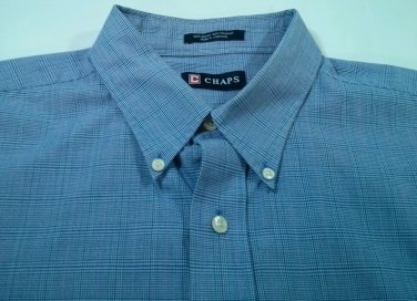 Chaps Blue Plaid Check Mens Long Sleeve Shirt Wrinkle Free 36/37 XL 17 1/2