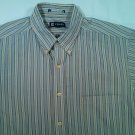 Chaps Blue Beige Tan Mens Long Sleeve L Large Shirt Vertical Stripe 16 1/2 34/35