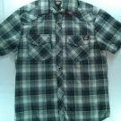 Black Pearl Snap Plaid Mens Small S Shirt Dickies Short Sleeve Check Pocket Gray