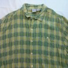 OP Men's Ocean Pacific Shirt Hawaiian XL Rayon XLarge Green Plaid Cotton Beach