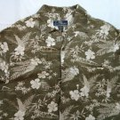 La Cabana Linen Medium M Men's Hawaiian Shirt Green Magnum PI Beach Surfing Sand