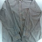 Beige Blue Stripe Chaps Mens Shirt 16 1/2 Large L Long Sleeve Wrinkle Free 34/35