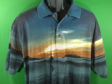 Men's Polo Golf Shirt Spirituals L Beach Water Large Religious Jesus Peace Be