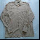 Ermenegildo Zegna Mens Shirt Cream Stripe Large L Long Sleeve Button Front Club