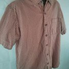 Eddie Bauer Orange Large Men's Shirt 100% Cotton Polo Rugby Plaid Check Checked