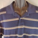 Eddie Bauer Blue Stripe Men's Shirt Large L 100% Cotton Polo Short Sleeve Summer