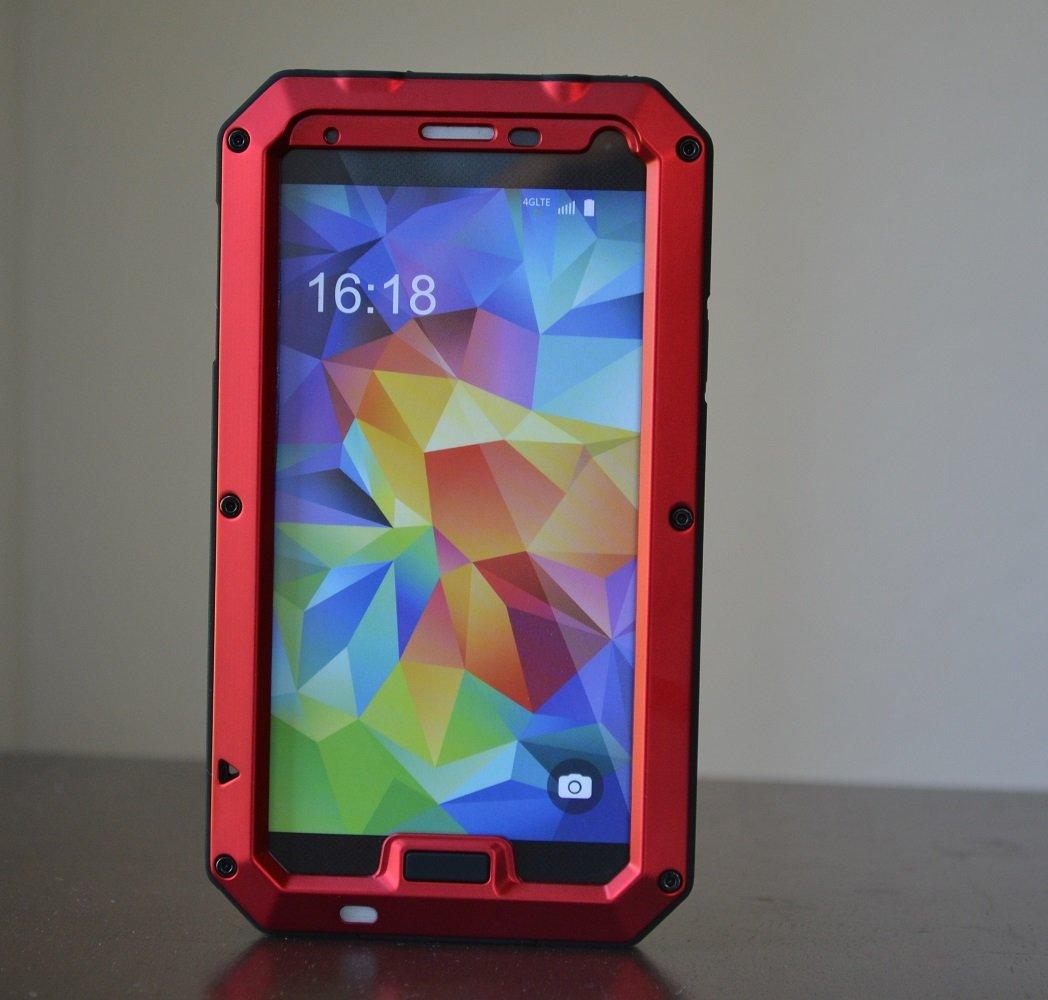 Aluminum Metal Gorilla Glass Shock Waterproof Case for Samsung Galaxy S5 I9600 - RED
