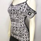 W221 NEW SIZE S SEXY TRIBAL WHITE BLACK COLD SHOULDER RAYON SOFT WOMENS SHIRT