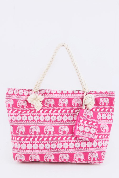 ELEPHANT PRINTED CANVAS TOTE