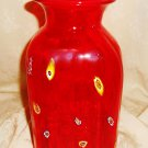 LARGE Red Art Glass Jar or Vase with Millefiori Pattern