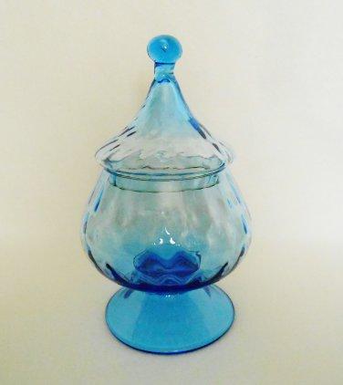 Italian Art Glass Circus Tent Apothecary Candy Jar Blue Optic Design Vintage