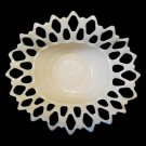 Vintage Westmoreland Pink Milk Glass Open Lace Fruit Bowl Compote Doric Pattern