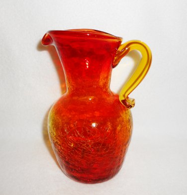 Vintage Amberina Red Crackle Glass Pitcher Creamer by Hamon Glass Circa 1940's - 1970's