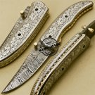 Custom Handmade Engraving Damascus Folding Knife With Leather Sheaths 879