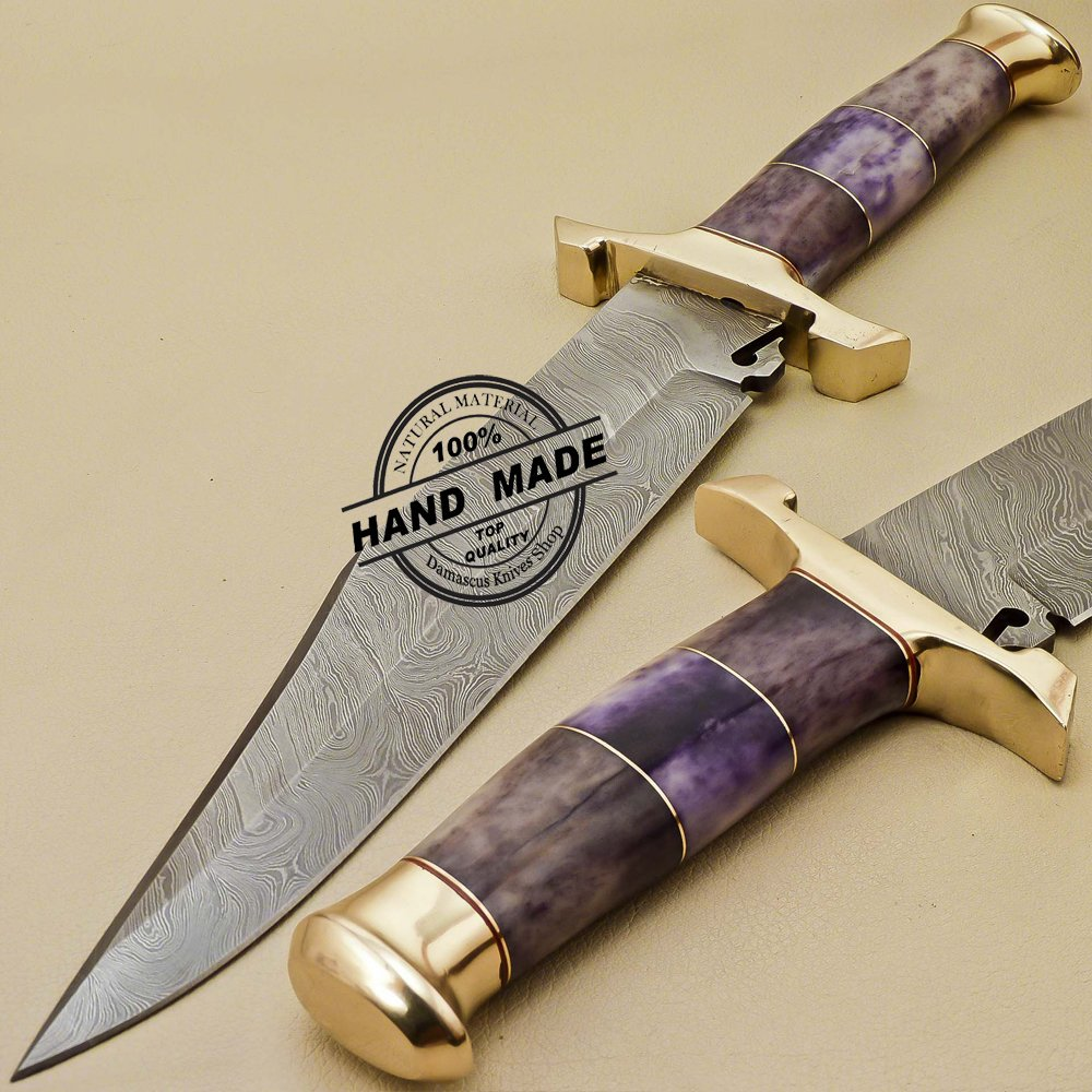 Damascus Bowie Knife Custom Handmade Damascus Steel Hunting Damascus Bowie Knife 888