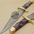 Damascus Bowie Knife Custom Handmade Damascus Steel Hunting Damascus Bowie Knife 888