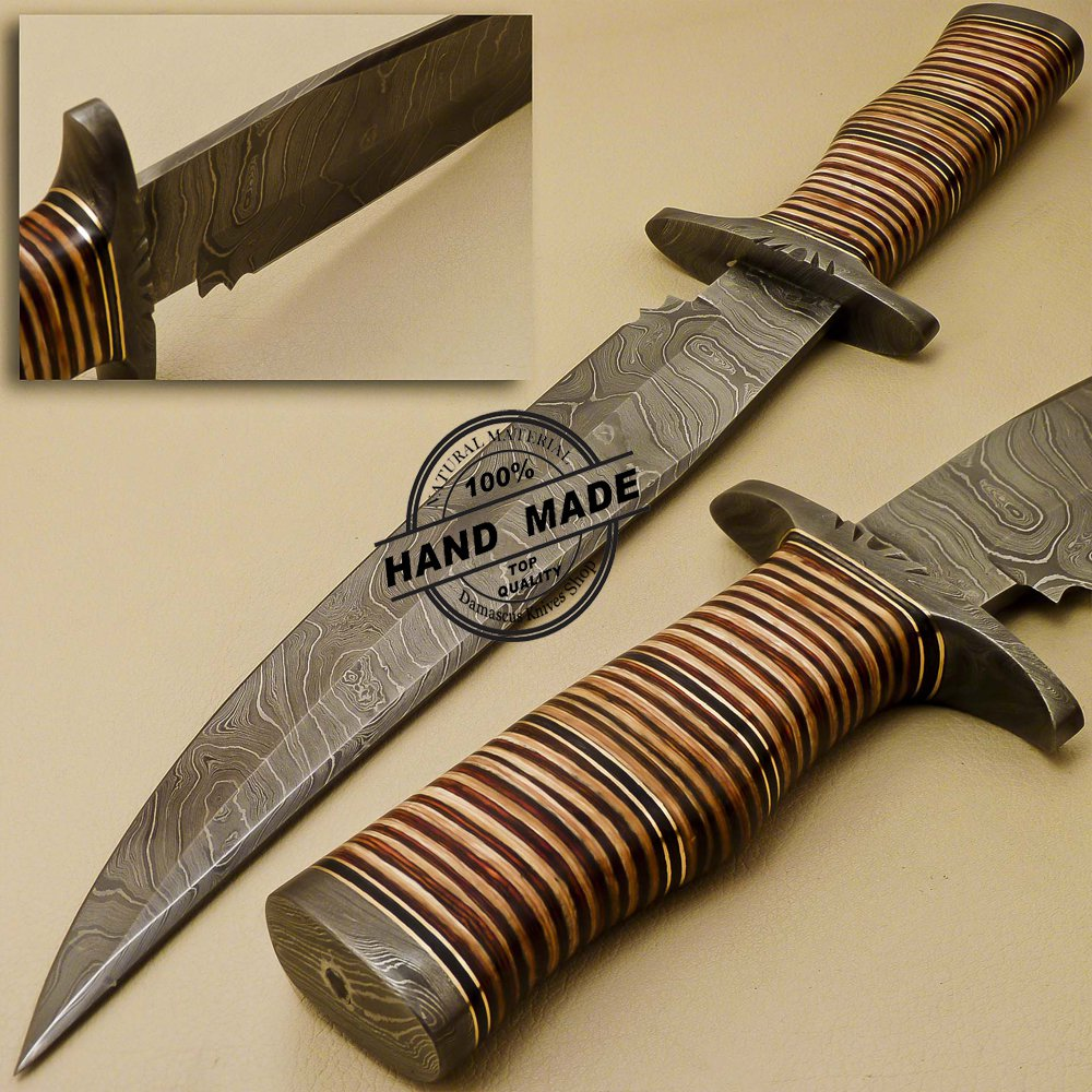 Damascus Bowie Knife Custom Handmade Damascus Steel Hunting Knife 887