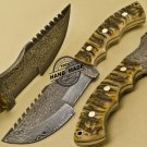 Damascus Tracker Knife Custom Handmade Damascus Steel Hunting Tracker Knife 885