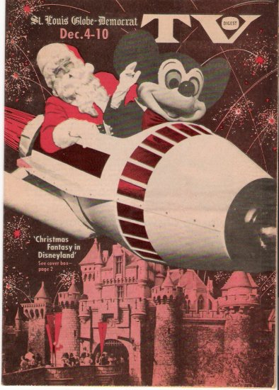 St. Louis Globe-Democrat TV Digest Disneyland Mickey Mouse Santa Claus Cover 1976 Magazine