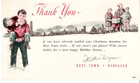 1940s Boys Town Nebraska Father Wegner Christmas Greetings Postcard