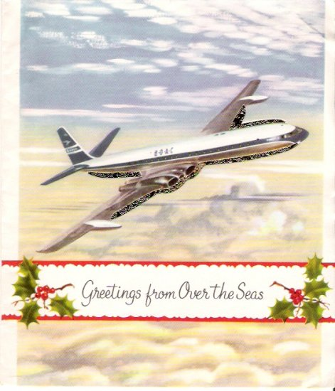 1962 BOAC Aviation Christmas Card With Envelope