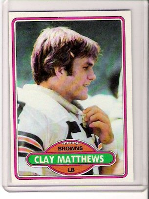 1980 Topps Clay Matthews Football Card #418