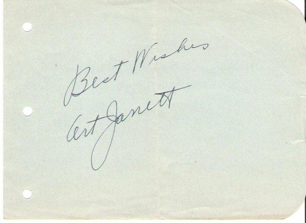 Bandleader/Actor Art Jarrett Autographed Album Page 1930s