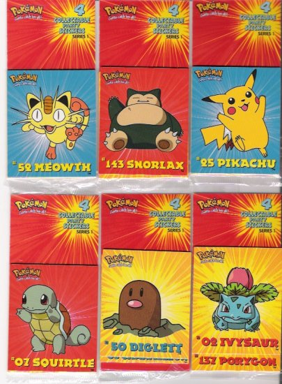 1999 Pokemon Collectable Party Stickers Series I 24-Pack Unit
