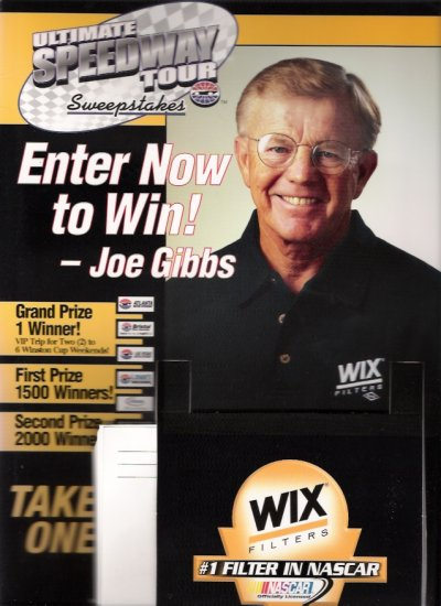Joe Gibbs 2003 Vintage NASCAR Store Display Counter Standee, Poster, Entry Forms Unused