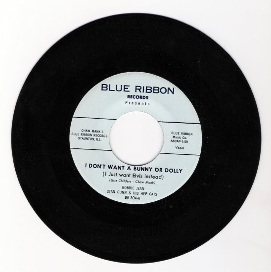 Elvis Presley Tribute 45 RPM Record I Don't Want a Bunny or Dolly (I Just Want Elvis Instead)